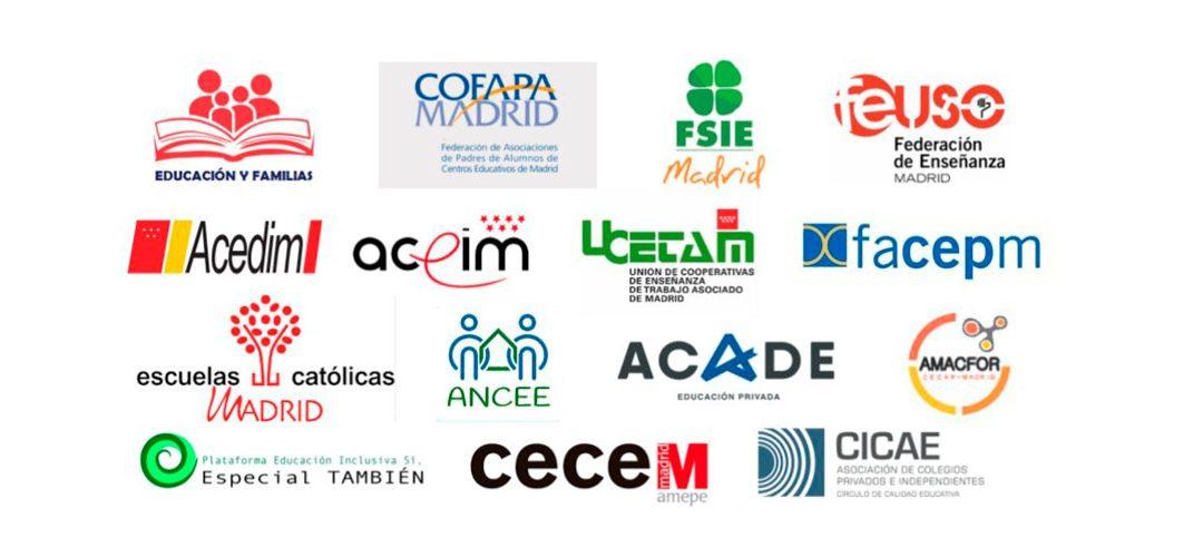 Declaración conjunta de las organizaciones de familias, trabajadores y centros representativas del sector educativo privado en la comunidad de Madrid